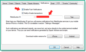 MT4 options for push notifications