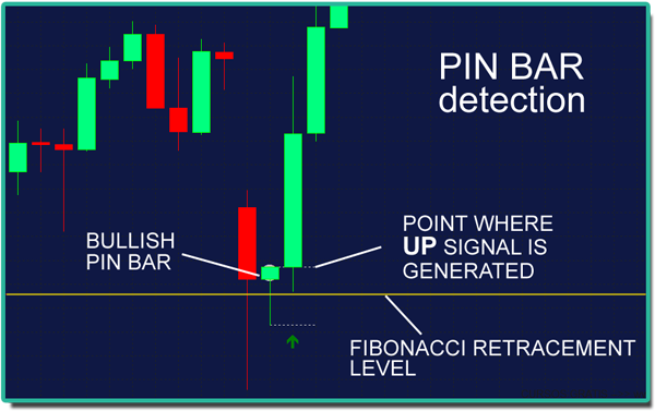Fibonacci Pin Bar indicator for MT4 with Free Signals